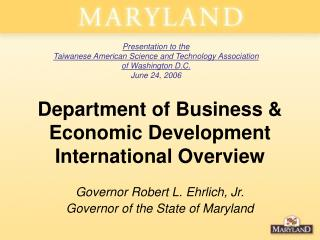 Department of Business & Economic Development  International Overview
