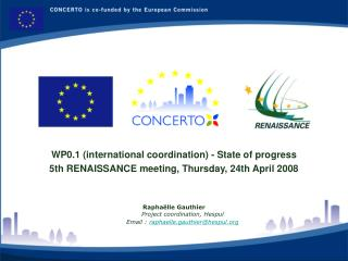 WP0.1 (international coordination) - State of progress