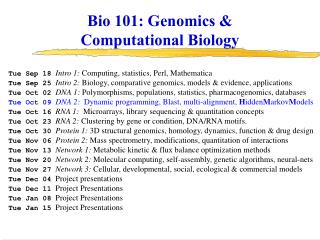 Bio 101: Genomics &  Computational Biology
