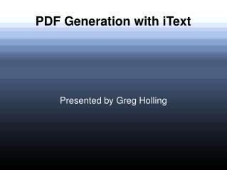 PDF Generation with iText