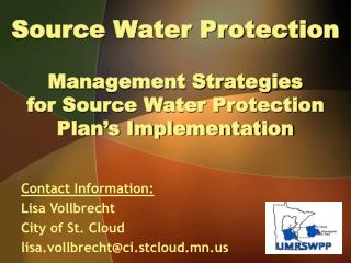 Source Water Protection   Management Strategies  for Source Water Protection Plan s Implementation