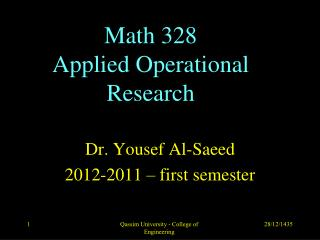 Math 328 Applied Operational Research