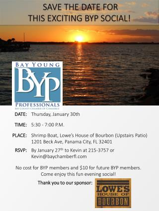No cost for BYP members and  $10  for future BYP members . Come enjoy this fun evening social!