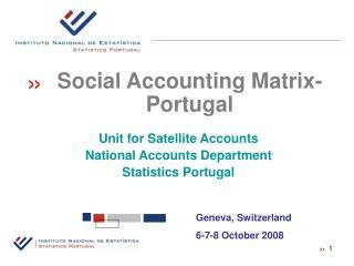 Unit for Satellite Accounts National Accounts Department Statistics Portugal