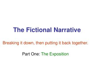 The Fictional Narrative