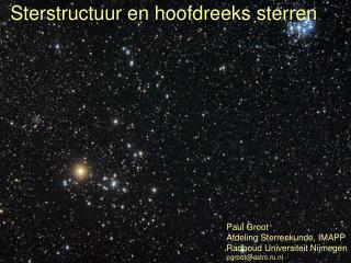 Sterstructuur en hoofdreeks sterren