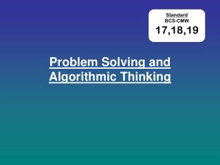 Problem Solving and Algorithmic Thinking