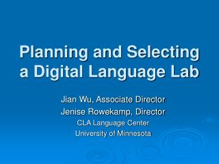 Planning and Selecting a Digital Language Lab