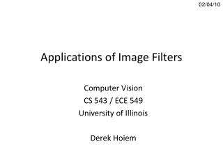 Applications of Image Filters
