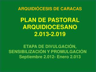 ARQUIDIÓCESIS DE CARACAS PLAN DE PASTORAL ARQUIDIOCESANO 2.013-2.019