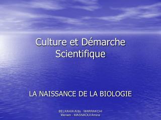 Culture et D marche Scientifique
