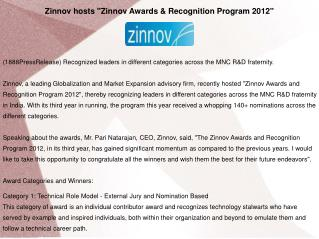 "Zinnov hosts ""Zinnov Awards & Recognition Program 2012"""