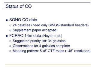 Status of CO