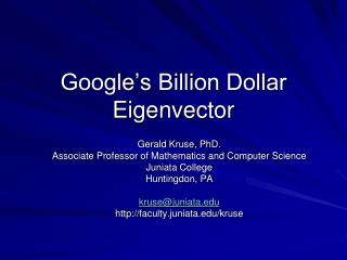 Google's Billion Dollar Eigenvector