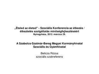 A Szabolcs-Szatmár-Bereg Megyei Kormányhivatal  Szociális és Gyámhivatal  Belicza Rózsa