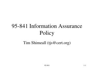95-841 Information Assurance Policy