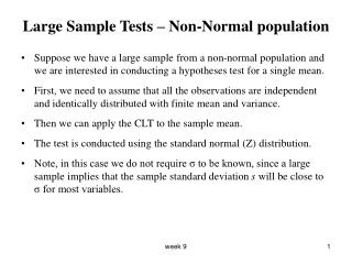 Large Sample Tests – Non-Normal population