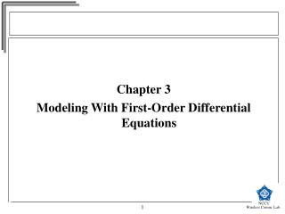 Chapter 3 Modeling With First-Order Differential Equations