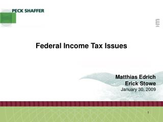 Federal Income Tax Issues