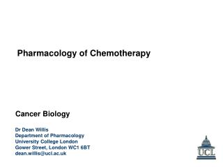 Dr Dean Willis Department of Pharmacology University College London Gower Street, London WC1 6BT
