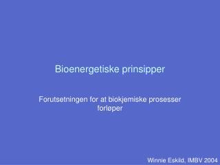 Bioenergetiske prinsipper