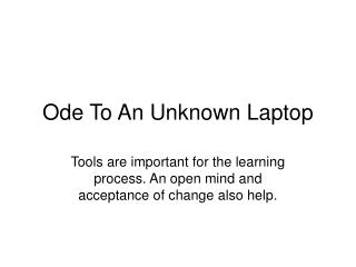 Ode To An Unknown Laptop