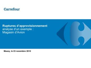 Ruptures d'approvisionnement analyse d'un exemple : Magasin d'Avion