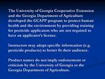 Georgia Competent Applicator of Pesticides Program GCAPP
