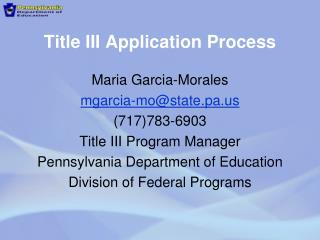 Title III Application Process