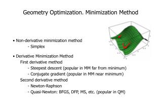 Geometry Optimization. Minimization Method