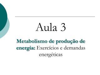 Aula 3 Metabolismo de produção de energia:  Exercícios e demandas energéticas