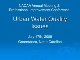 Urban Water Quality Issues