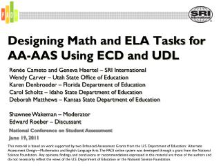 Designing Math and ELA Tasks for AA-AAS Using ECD and UDL