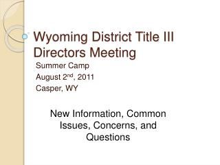 Wyoming District Title III Directors Meeting