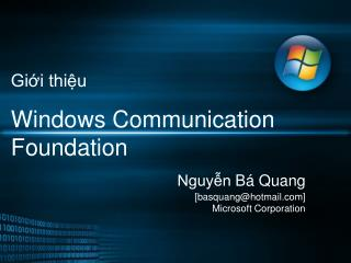 Gi?i thi?u Windows Communication Foundation