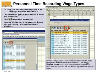 Personnel Time Recording Wage Types