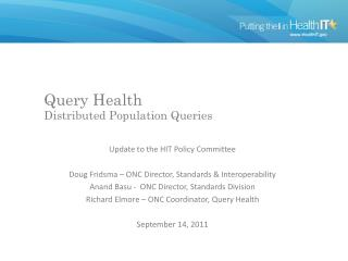 Query Health Distributed Population Queries