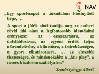 """""""Egy sportcsapat a társadalom kicsinyített képe, …"""