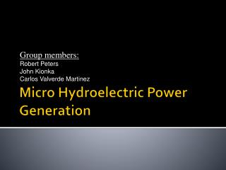 Micro Hydroelectric Power Generation