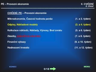 PE – Provozní ekonomie                                       II. CVIČENÍ
