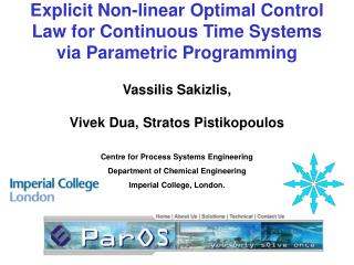 Explicit Non-linear Optimal Control Law for Continuous Time Systems via Parametric Programming
