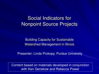Social Indicators for Nonpoint Source Projects