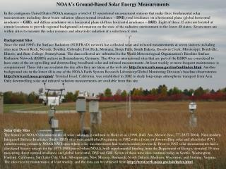 NOAA ' s Ground-Based Solar Energy Measurements