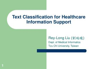 Text Classification for Healthcare Information Support