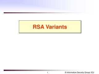 RSA Variants