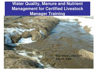 Water Quality, Manure and Nutrient Management for Certified Livestock Manager Training