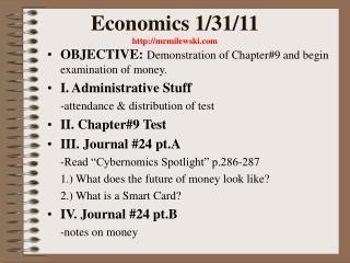 Economics 1/31/11  mrmilewski