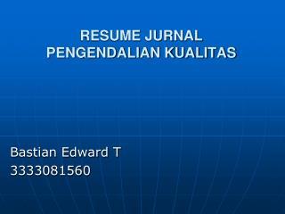 RESUME JURNAL PENGENDALIAN KUALITAS