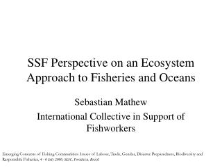 SSF Perspective on an Ecosystem Approach to Fisheries and Oceans