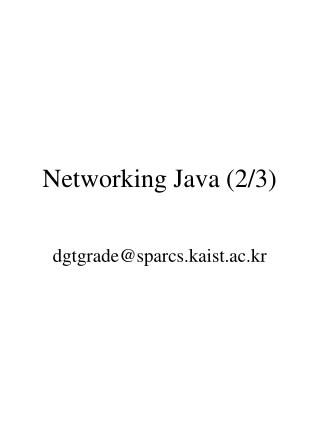 Networking Java (2/3)